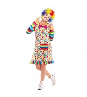 Disfraz Payasa Mujer Clown Topos y Rayas
