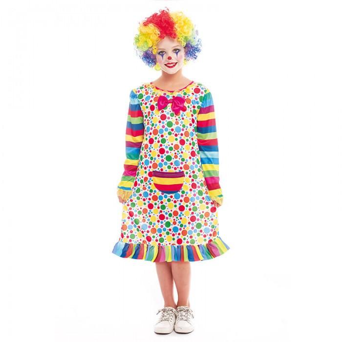 Disfraz Payasa Niña Clown Topos y Rayas