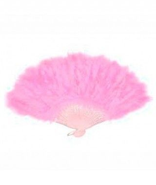 Abanico Plumas Rosa Accesorio Fiesta