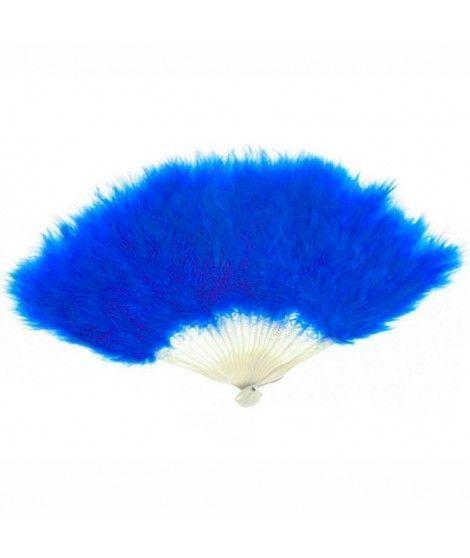Abanico Plumas Azul Accesorio Fiesta