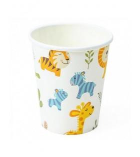Vasos Desechables Papel Cumpleaños Animales Zoo (12 vasos 9 onzas)