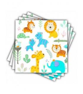 Servilletas Papel Cumpleaños Animales Zoo (12 unidades)