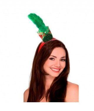 Diadema Navidad mini sombrero con pluma