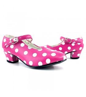 Zapatos de Sevillana infantil fucsia con lunares blancos
