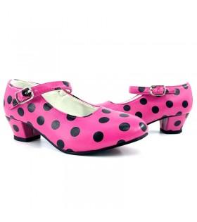 Zapatos de Sevillana Adulto fucsia con lunares negros