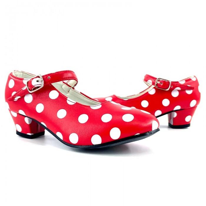 Zapatos de Sevillana infantil rojos con lunares blancos