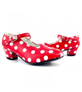 Zapatos de Sevillana Adulto rojo con lunares blancos
