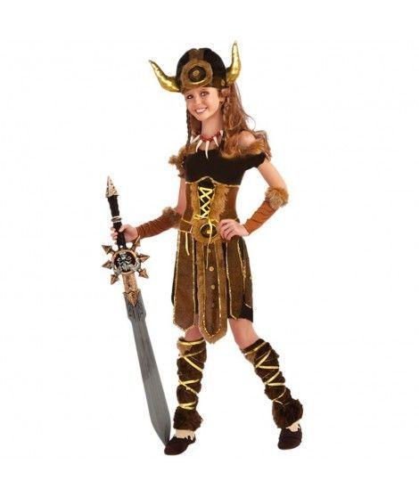 Disfraz Vikinga niña infantil para Carnaval