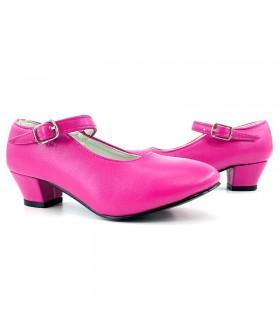 Zapatos de Sevillana infantil fucsias