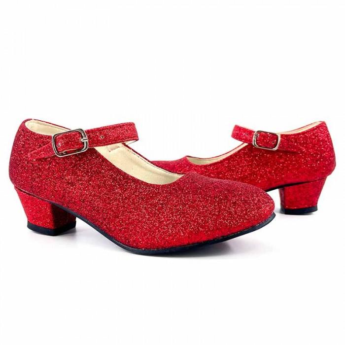 Zapatos rojos infantiles de tacón con purpurina