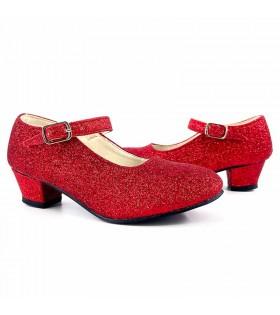 Zapatos rojos adulto de tacón con purpurina