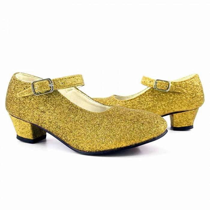 Zapatos infantiles dorados con purpurina