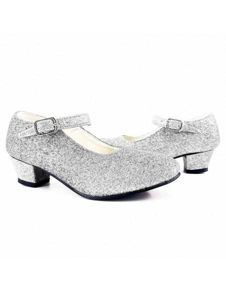 Zapatos adulto plateados con purpurina