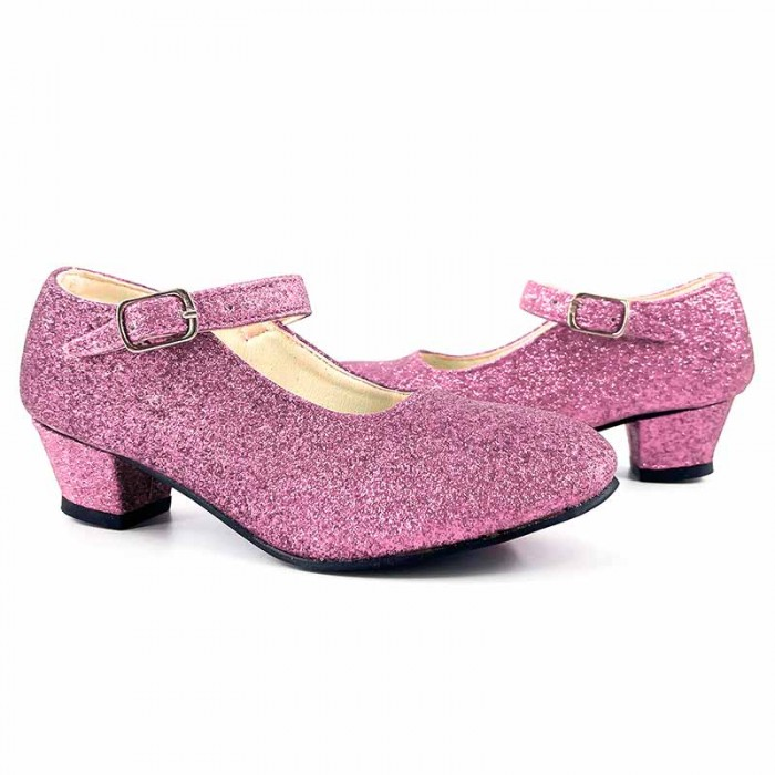 Zapatos infantiles rosas con purpurina