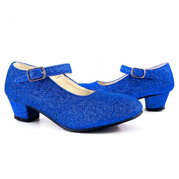 Zapatos infantiles azules con purpurina