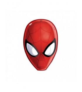 Careta Spiderman Papel Cumpleaños [6 uds] Decoración Fiesta Superhéroes Hombre Araña Ultimate Spiderman Web Warriors