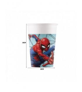 Vasos Cumpleaños Spiderman Papel [6 uds 200 ml] Decoración Fiesta Spiderman Superhéroes Spiderman Team Up