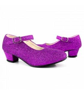 Zapatos Tacón Niña Princesa Lila con purpurina tallas infantiles Disfraz