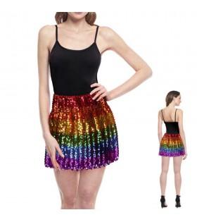 Minifalda Mujer Arco Iris Lentejuelas Elástica