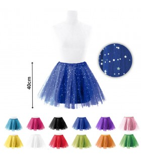 Tutú Mujer Purpurina de Estrellas Colores [Longitud 40 cm]
