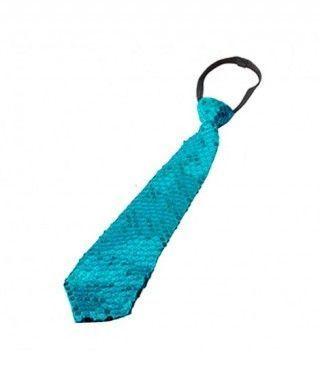 Corbata lentejuelas Azul Turquesa Accesorio Fiesta