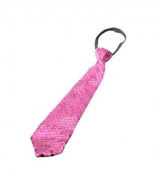 Corbata lentejuelas Rosa Accesorio Fiesta