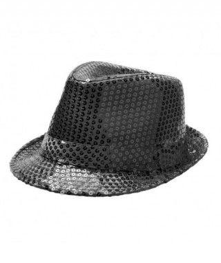 Sombrero lentejuelas negro con ala