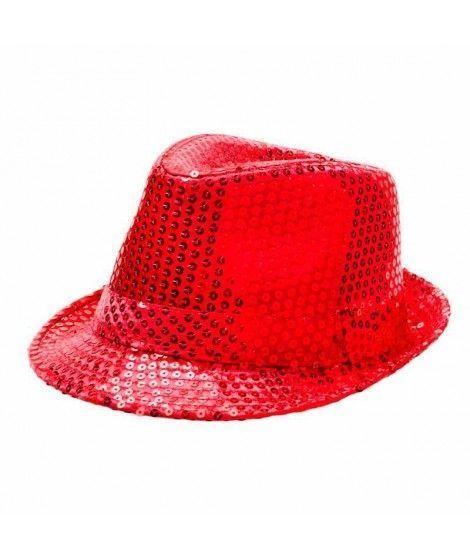 Sombrero lentejuelas rojo con ala d647532043f