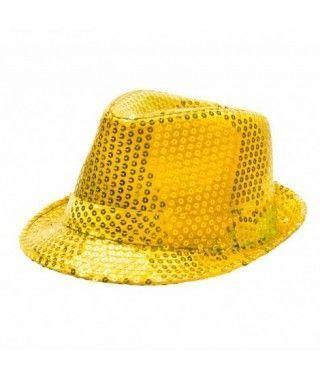 Sombrero lentejuelas oro con ala