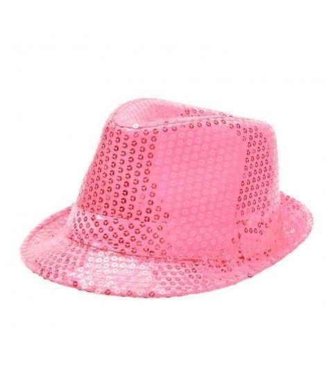 Sombrero lentejuelas rosa con ala