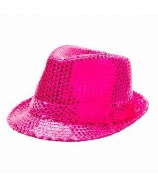 Sombrero lentejuelas fucsia con ala