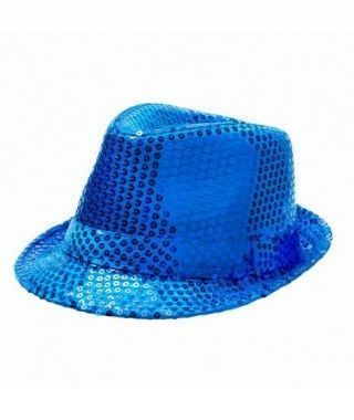 Sombrero lentejuelas azul oscuro con ala