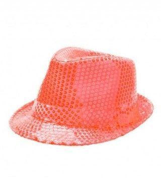 Sombrero lentejuelas naranja con ala