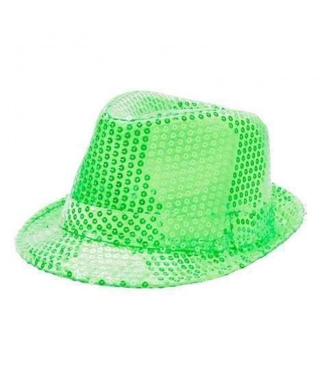Sombrero lentejuelas verde neón con ala