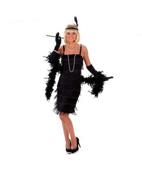 Disfraz Charleston flecos negros mujer adulto para Carnaval
