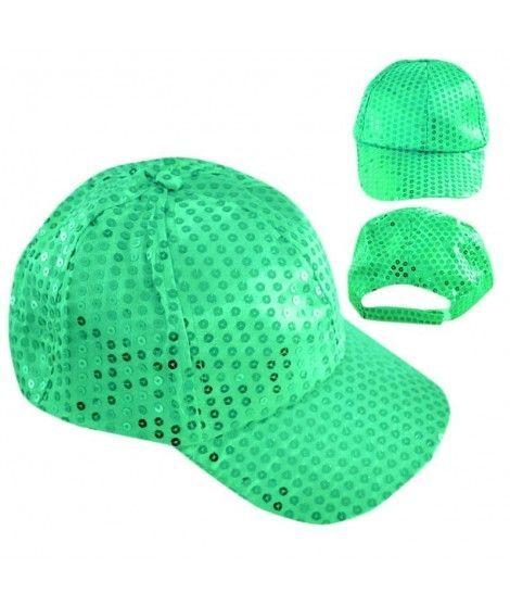 Gorra lentejuelas verde Fiesta
