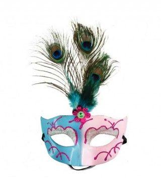Antifaz veneciano plumas pavo real Accesorio Carnaval