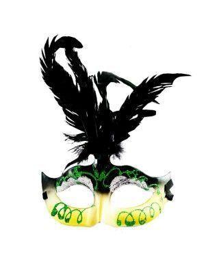 Antifaz veneciano plumas y gema Accesorio Carnaval