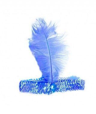 Cinta Charlestón con Pluma Años 20 Azul Accesorios Carnaval