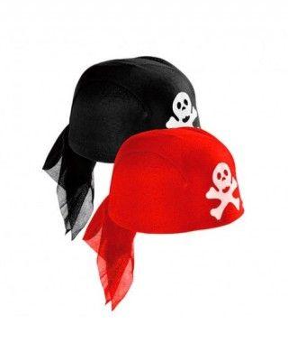 Gorro Pirata Pañuelo rojo o negro Accesorio Carnaval