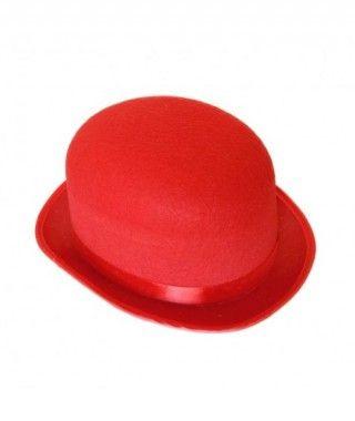 Bombín rojo adulto de fieltro Accesorio fiesta