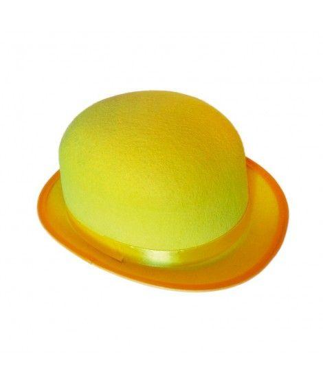 Bombín amarillo adulto de fieltro Accesorio fiesta