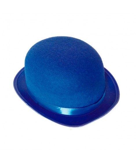 Bombín azul adulto de fieltro Accesorio fiesta