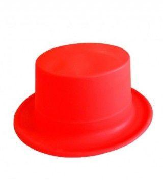 Chistera rojo neón de plástico Accesorio fiesta