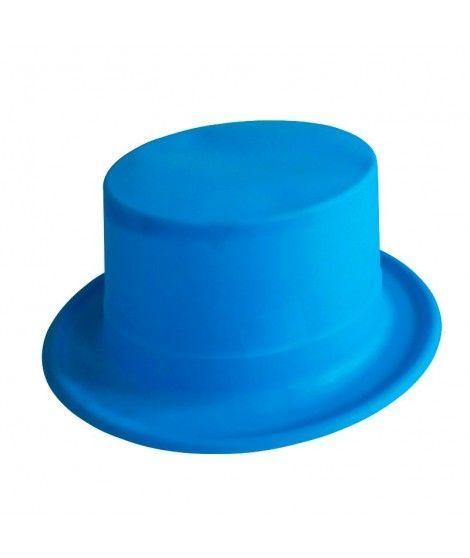 Chistera azul neón de plástico Accesorio fiesta