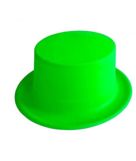 Chistera verde neón de plástico Accesorio fiesta