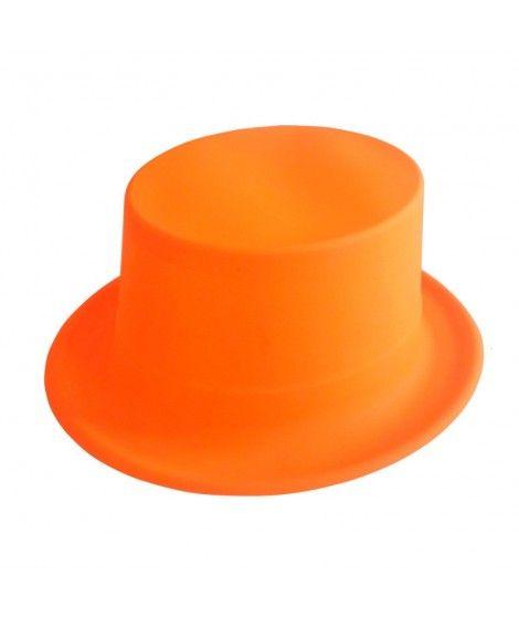 Chistera naranja neón de plástico Accesorio fiesta