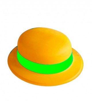 Bombín naranja neón banda...