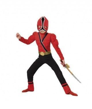 Disfraz Ninja rojo musculoso niño infantil para Carnaval