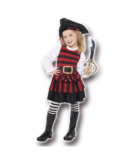 Disfraz Corsaria Pirata rayitas niña infantil para Carnaval
